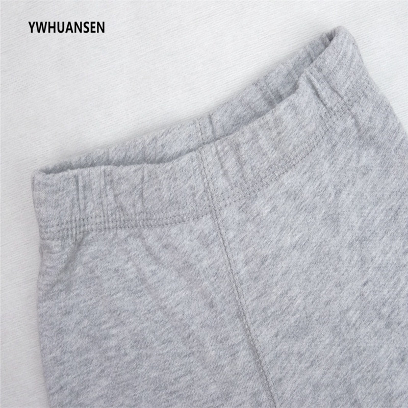 YWHUANSEN Solid Color Pants For Boy Cotton Childrens Trousers Elastic Leg Opening Pantyhose For Boy Thick Baby Boy Winter Cloth