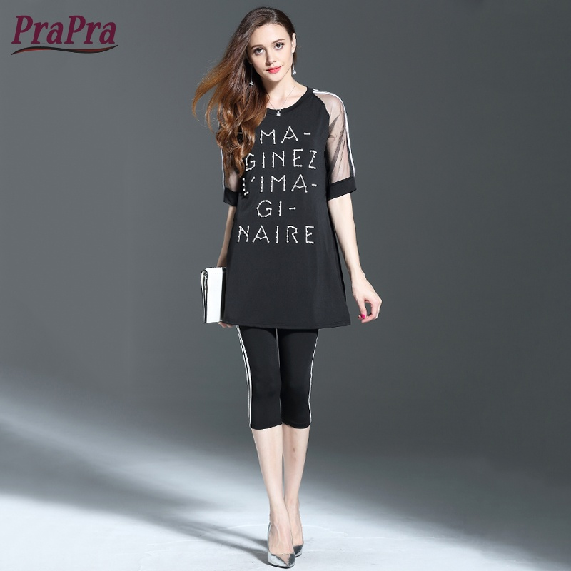 Prapra Women Tracksuit Sets Tops Tee +calf-length Pants 2 Pieces Sets Plus Size Letter Beading Mesh Sleeves Splicing Cloths Sets