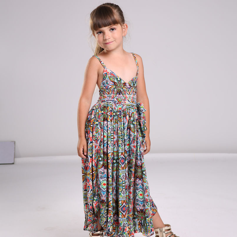 dfbd43a4705 Bohemian Dress for Girls Fashion Print Clothing Children Summer Beach Dress  Floral V neck Sleeveless Dress Jumpsuits Maxi Dress-in Dresses from Mother  ...