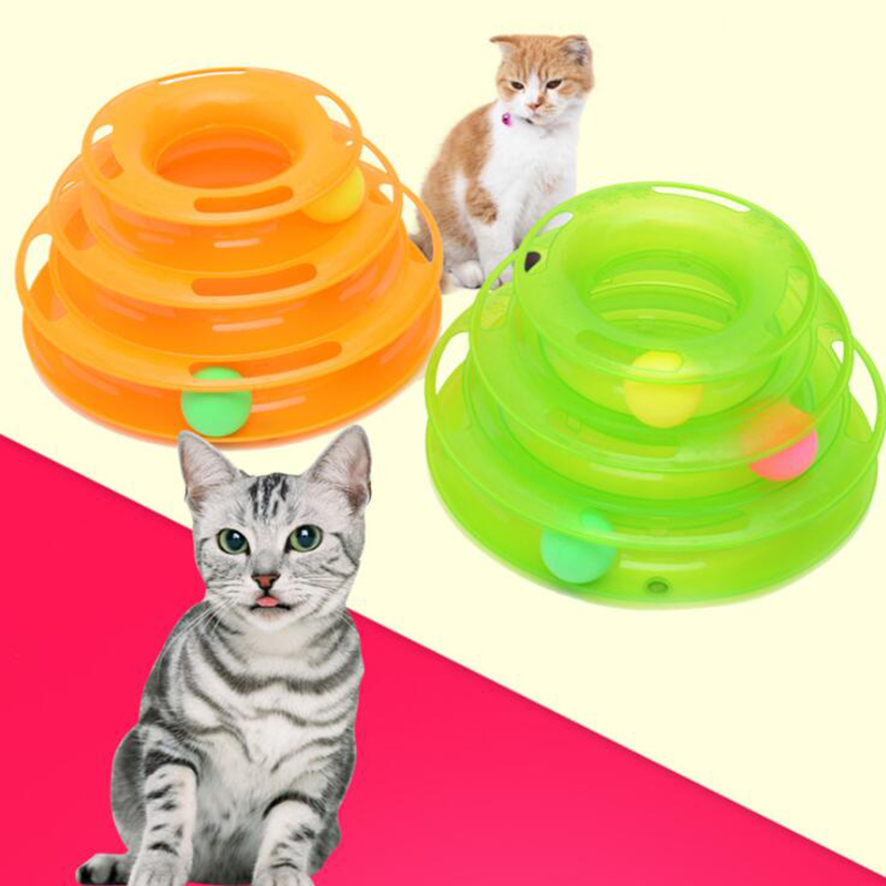 DOBOLA Pet Toys Cat Top Quality Crazy Ball Disk Interactive Amusement Plate Play Disc Trilaminar Turntable Cat Toy Green Orange
