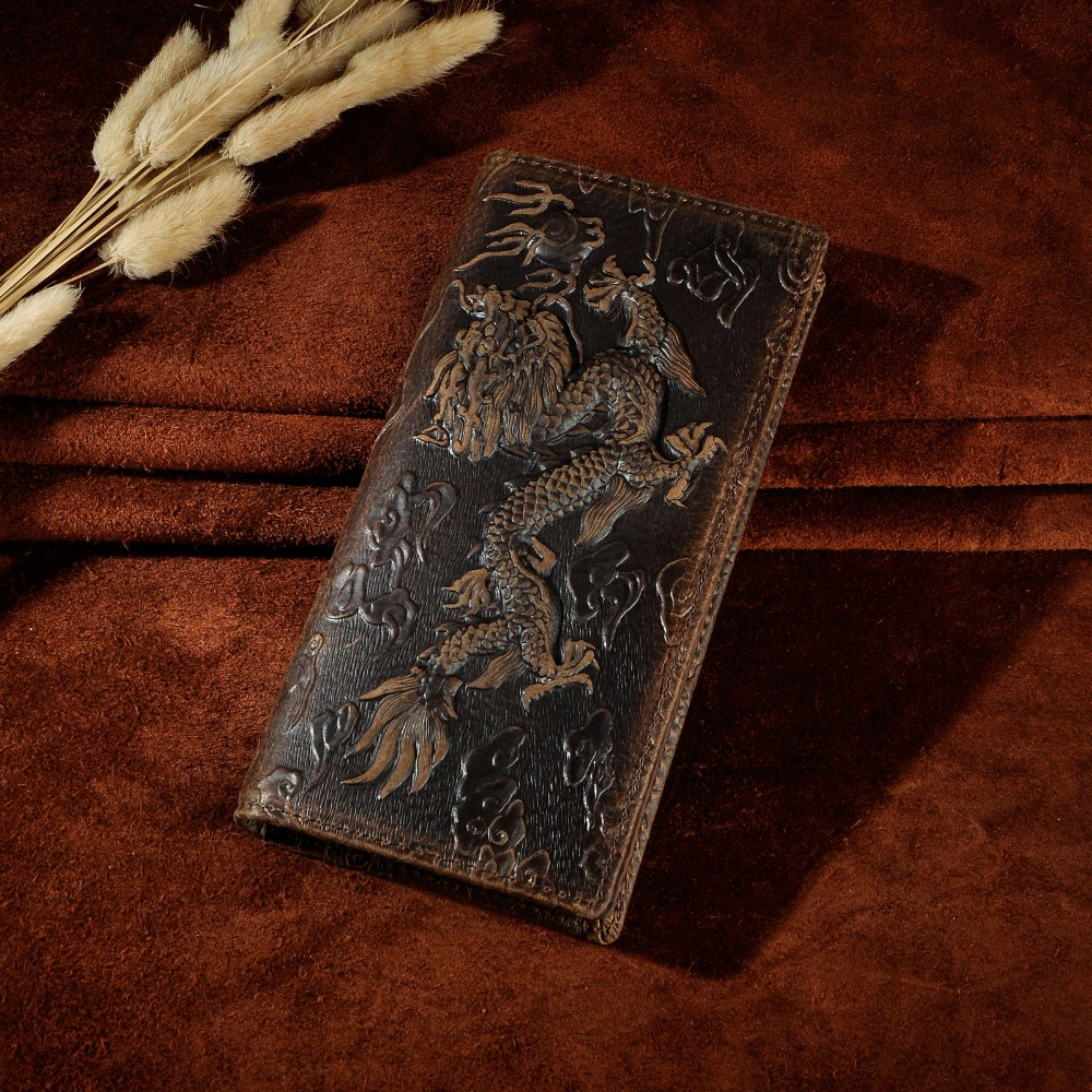 Hot Sale Cattle Male Organizal Real leather Design Checkbook Tiger Dargon Emboss Wallet Purse For Men 1014