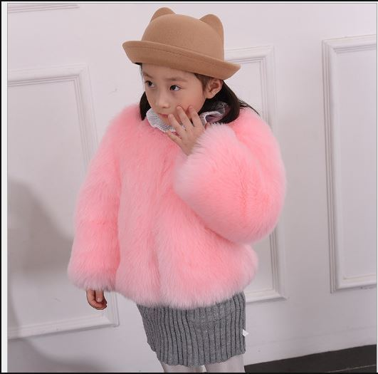 7a3a8a7e30fe5 Furry 2018 Kids Girls Luxury Winter Warm Faux Fur Coats Baby Girl Warm Faux  Fox Fur Outwear Pink Girl Jacket babies clothes F1