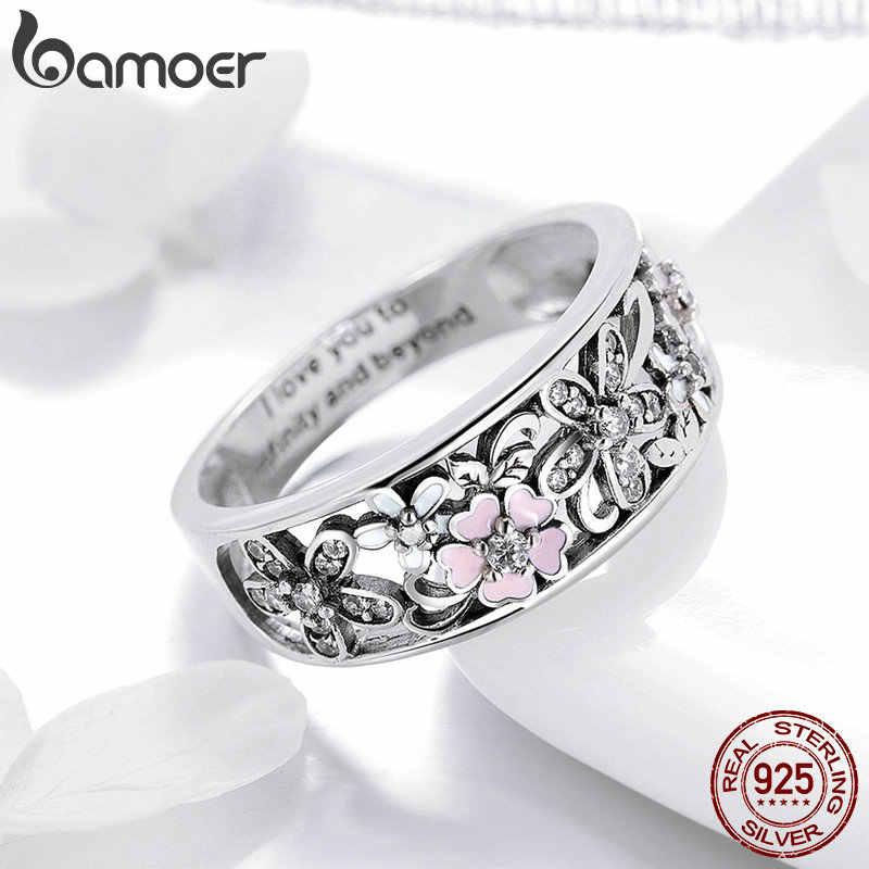 Bamoer 925 Plata de Ley Margarita flor y amor infinito pavimentan anillos de dedo para mujeres joyería de compromiso de boda SCR390