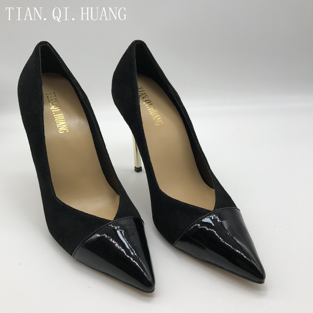 2017 Fashion Design High Heels Shoes Genuine leather New Styles Suede Pumps Women Woman Sexy Shoes Brand TIAN.QI.HUANG 2