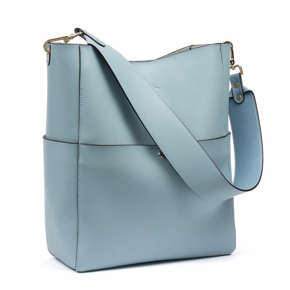 Women\'S Genuine Leather Designer Handbags Tote Purses Shoulder Bucket Bags Tote Bag With 2 Belt