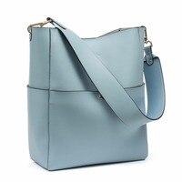 BOSTANTEN Women's Genuine Leather Designer Handbags Tote Purses Shoulder Bucket Bags Tote Bag with 2 belt