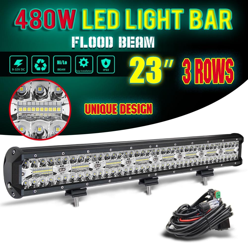 CO LIGHT 7D 23inch LED Light Bar 12V 480W Combo Triple Row Led Work Light for