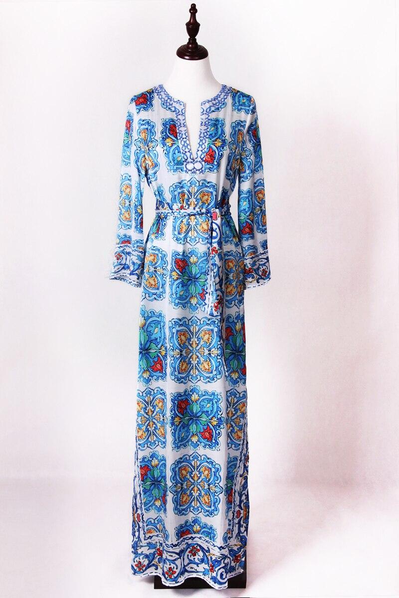 S 4XL haute qualité 2019 nouvelle mode piste bleu et blanc impression perlé à la main col en v à manches longues lâche ourlet fente robe femmes-in Robes from Mode Femme et Accessoires    2