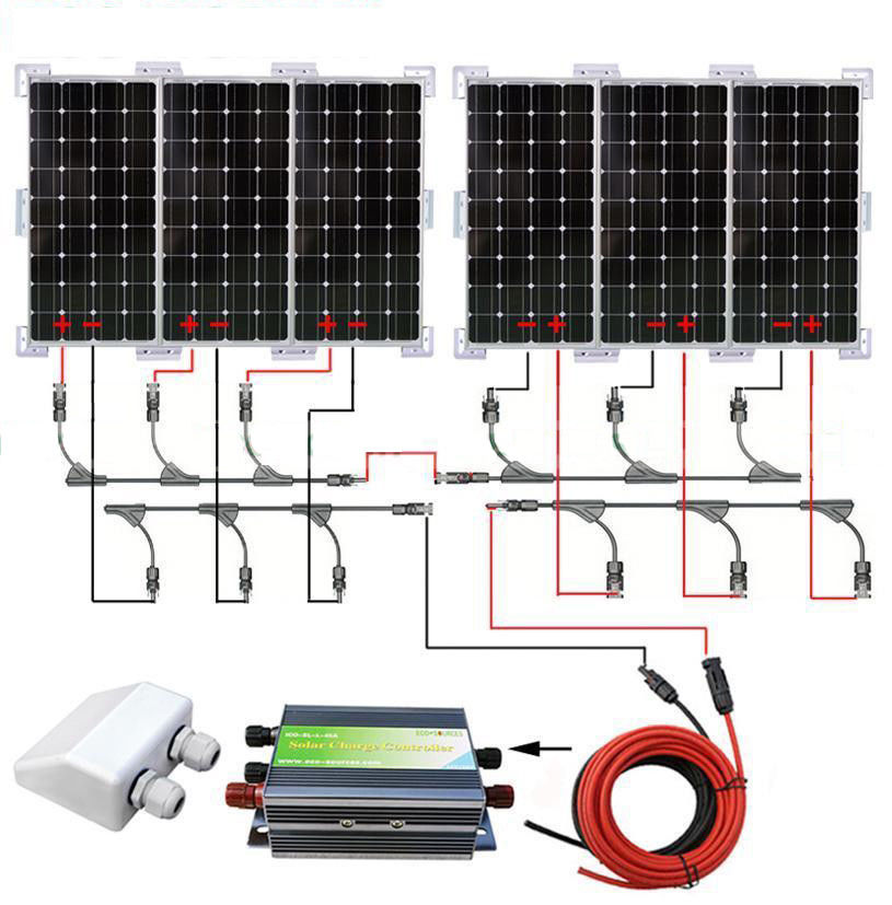 600W SOLAR SYSTEM 6PCS 100W MONO SOLAR PANEL W/ WHOLE SET BRACKET FOR CARAVAN RV