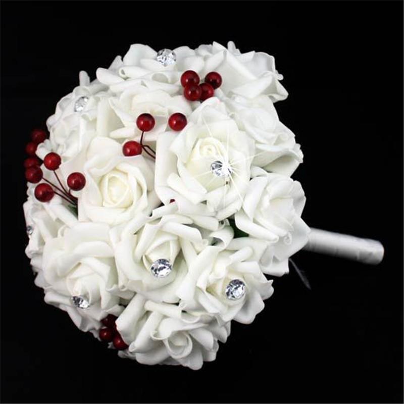 Artificial Cherry Decoration Bridesmaid Flower Wedding Bouquet Artificial Buquet de noivas Handmade Rose Crystal Bridal Bouquet  (4)