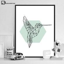 Cuadro de pared abstracto de arte nórdico geométrico pájaro carpintero, póster de lona, pintura minimalista, impresión, decoración moderna para la habitación del hogar
