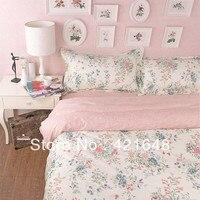 Новый Хлопок розовый queen Постельных принадлежностей принцесса цветочный узор печатных одеяло пододеяльники домашний текстиль