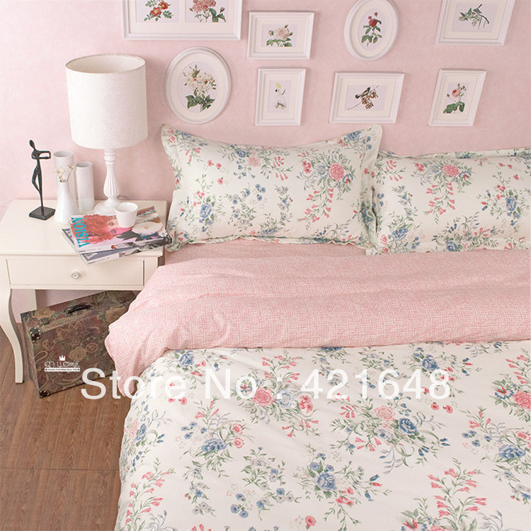 New Cotton pink queen bedding set princess floral pattern