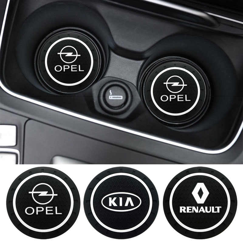 1 Pcs Styling PVC Non-Slip Coaster Mat Case untuk Renault Opel Lada VW Ford Toyota Chevrolet kia Skoda Volvo Suzuki Hyundai BMW