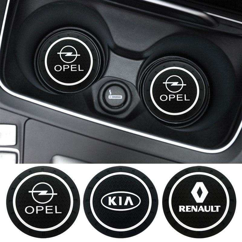 1pcs Car-Styling Pvc Non-slip Coaster Mat Case For Renault Opel Lada Vw Ford Toyota Chevrolet Kia Skoda Volvo Suzuki Hyundai Bmw