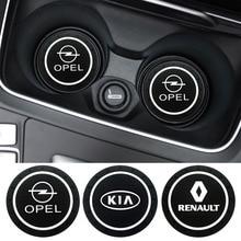 цена на 1pcs Car-Styling Pvc non-slip coaster Mat Case For Renault Opel Lada Vw Ford Toyota Chevrolet Kia Skoda Volvo Suzuki Hyundai bmw