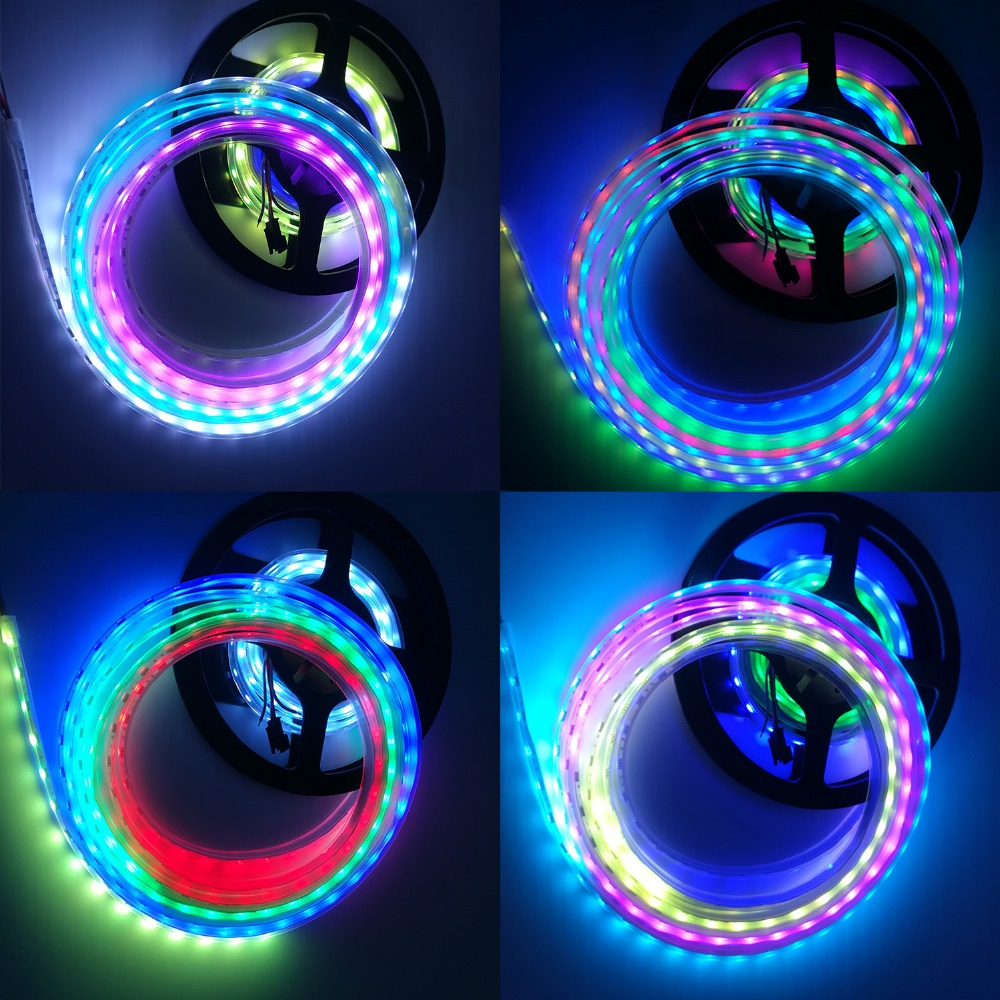 factory DC 5V 12V WS2811 WS2812B WS2812 IC SMD 5050 digital RGB Strip waterproof Dream Magic Full color Led Strip light
