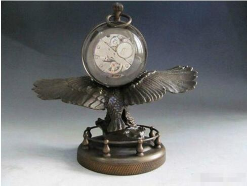 18 cm*/collect Bronze Copper Eagle sculpture mechanical clock table watch Statue