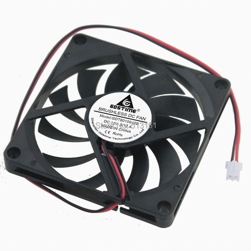 Купить с кэшбэком 5pcs/lot Gdstime 80MM 12V 2Pin 80x80x10mm 8cm 8010 Brushless DC Cooling Cooler PC CPU Computer Case Fan