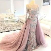 Gorgeous Long Evening Dress 2017 Mermaid Long Sleeve Beaded Lace Floor Length Dubai Arabic Women Formal Evening Gowns Dresses