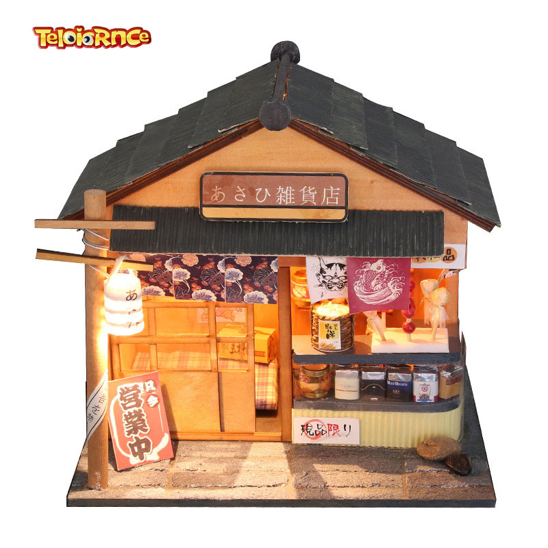 >Ec <font><b>Japanese</b></font> <font><b>style</b></font> Chaoyang grocery shop doll <font><b>house</b></font> DIY hand-assembled wooden cabin model doll accessories toy gift preferred
