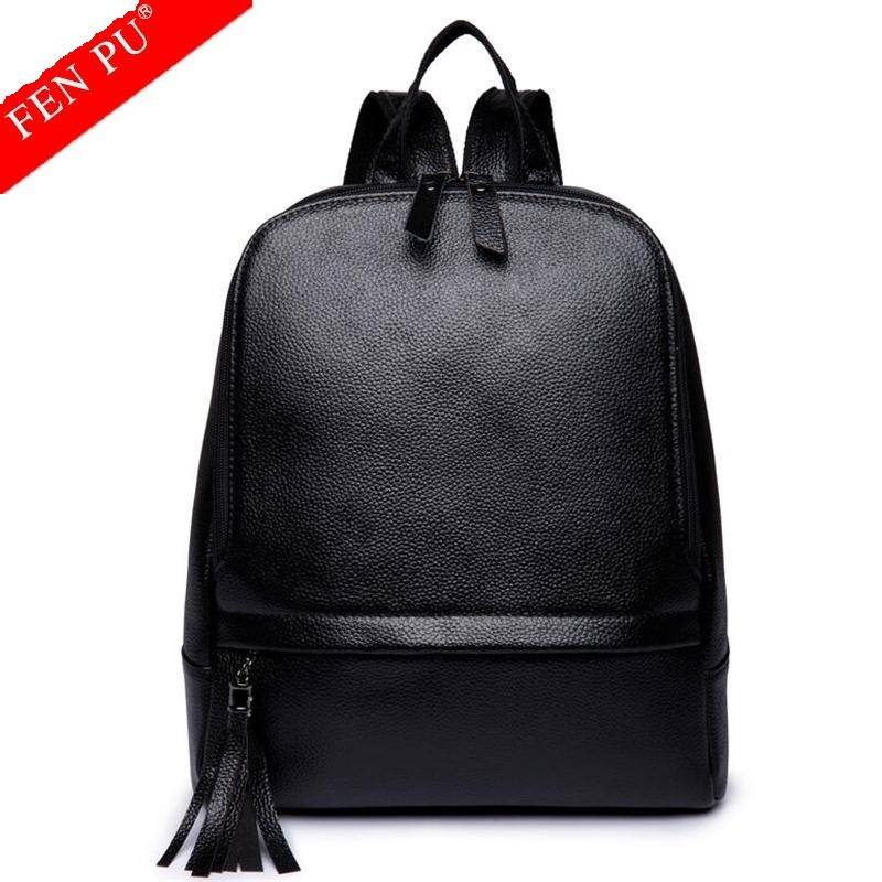 Famous Brand Backpack Genuine Leather Women Backpacks Solid Vintage Girls School Bags For Girls Black Leather Female Backpack