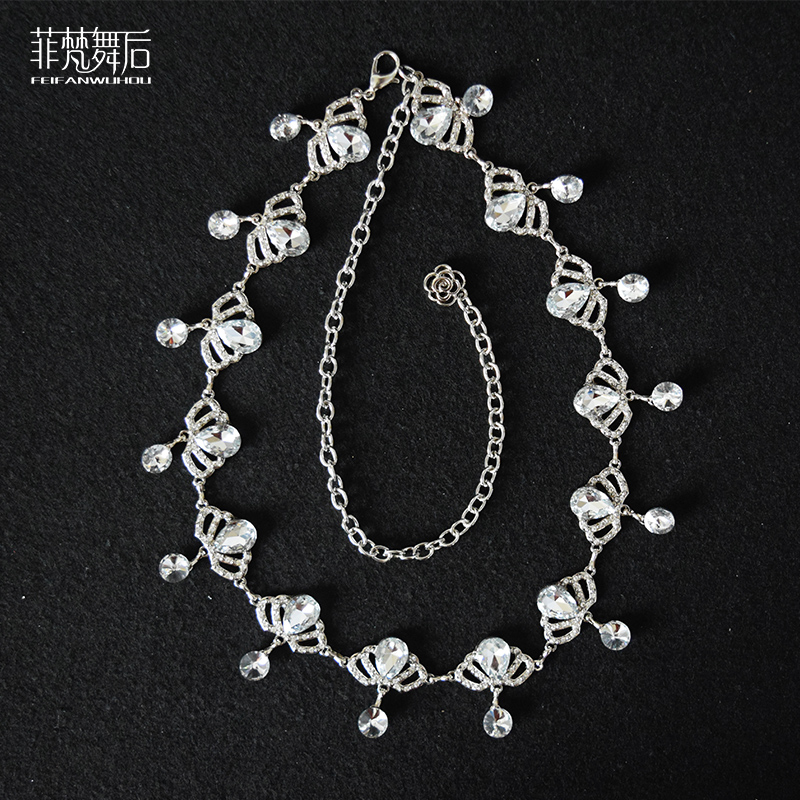 Metal Chain Belts with Rhinestones Cloth Accessories