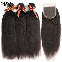 Styleicon 3 Bundles Kinky Straight Hair with Closure 100% Peruvian Human Hair Weave with Lace Closure Non Remy Hair Weaving