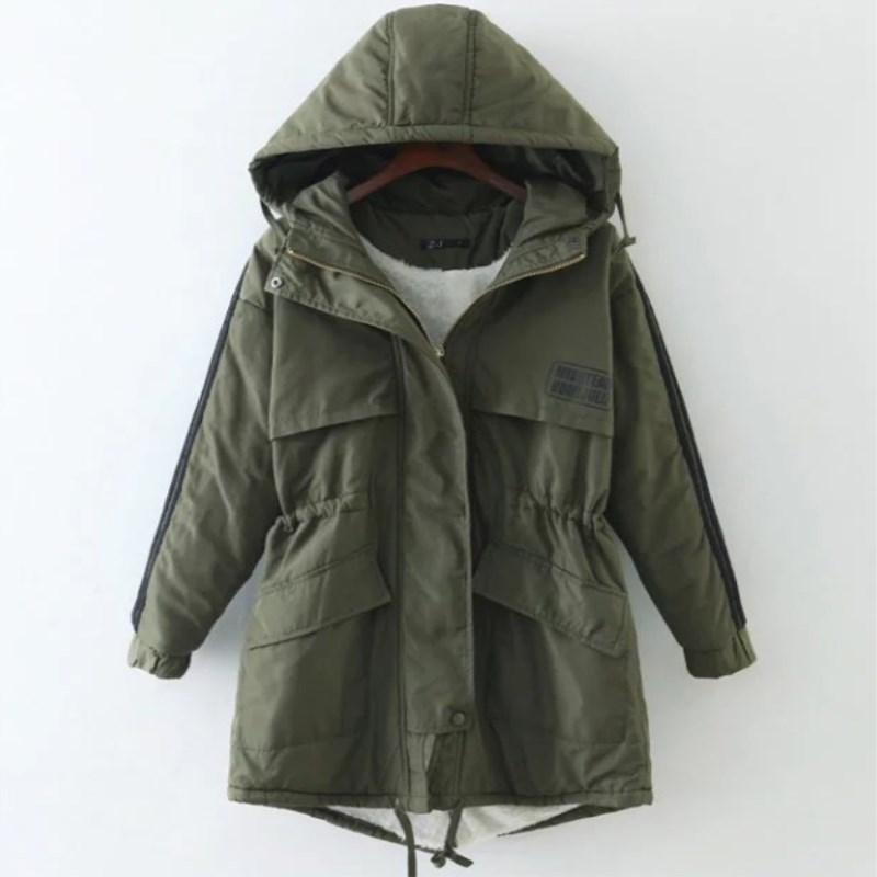 Hooded Army Green Women Winter Jacket 2017 New Arrival Casual Warm Long Sleeve Ladies Basic Coat Jaqueta Feminina 3515 kn 33 women s winter wear stylish thickened warm hooded down jacket coat army green l