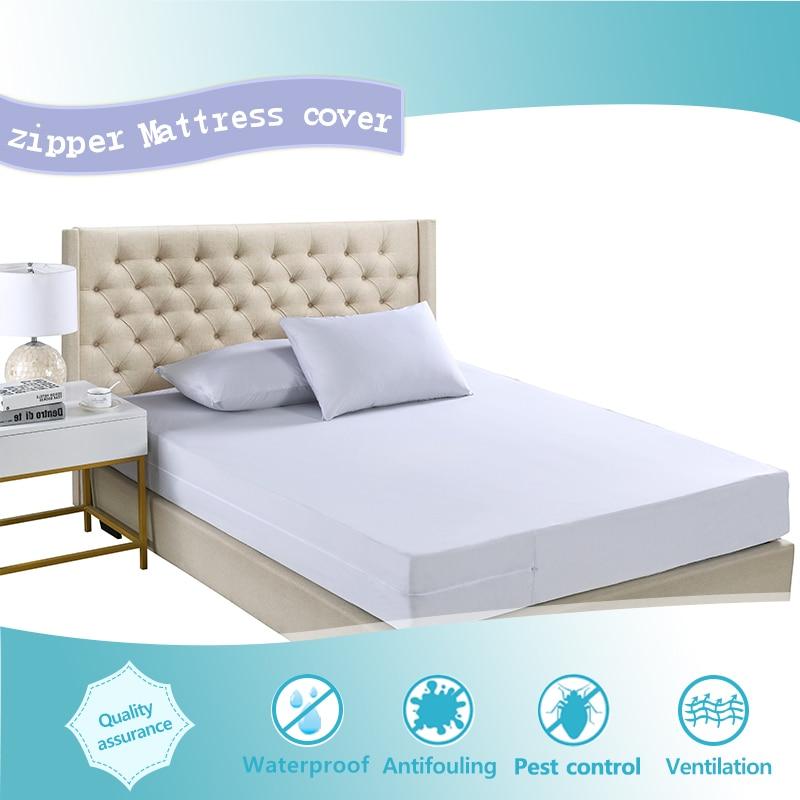 Dropship 160X200CM Zippered Mattress Encasement Cover Waterproof Protector Bed Sheet Hotel Zipper