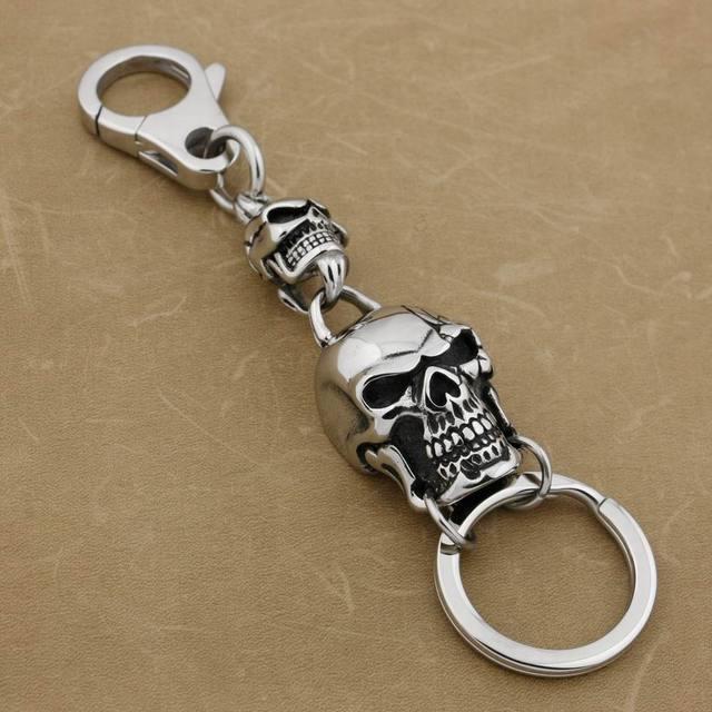 316L Paslanmaz Çelik Büyük Kafatası Anahtarlık Erkek Biker Kaya Punk Anahtarlık 3V006KC