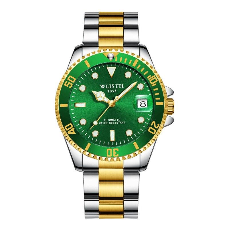 цена на New waterproof watch Men's super luminous men's watch automatic mechanical watch black blue green water ghost watch