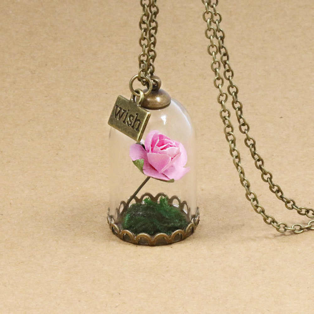 be705c2ac6 ... Fashion Real Rose Red Pink Dried Flower Glass Bottle Chain Necklace  Pendant Beauty And The Beast ...