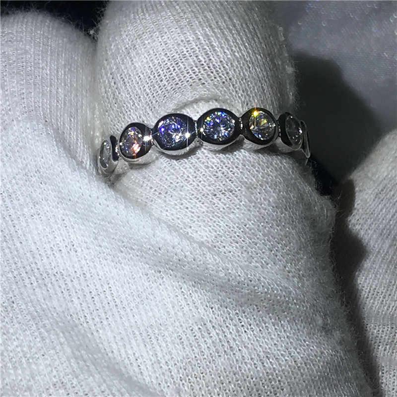 แฟชั่นเครื่องประดับ 925 เงินสเตอร์ลิงแหวน Sona 3 มม. 5A zircon แหวนหมั้นแหวนผู้หญิงผู้ชายของขวัญ