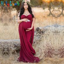 ca862b29e Vestidos de maternidad para foto tiro v-cuello rojo vestido maternidad  fotografía Props embarazo sin