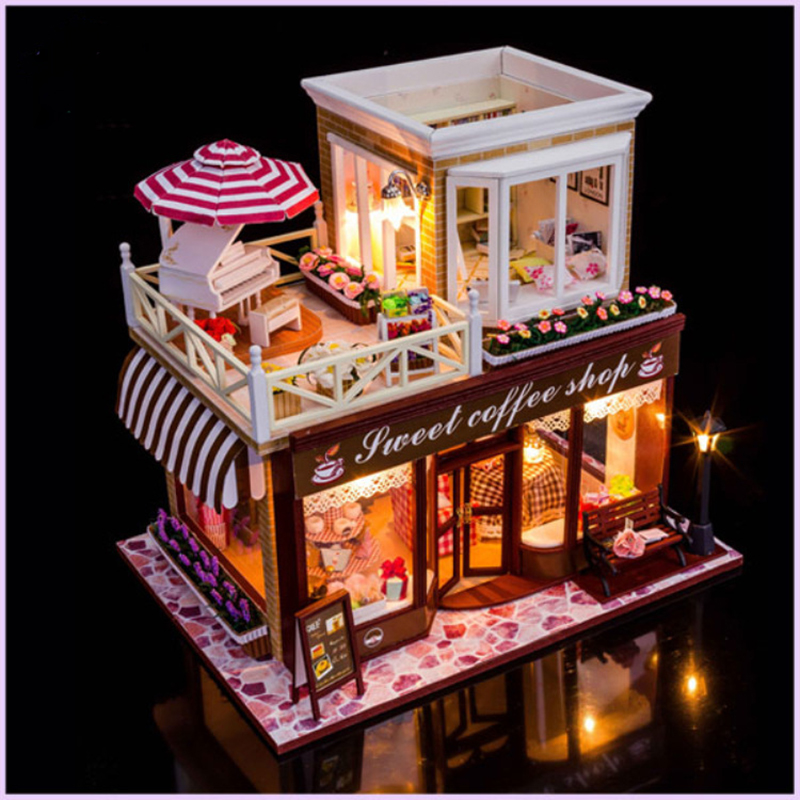 Doub k diy 커피 하우스 인형 집 미니 조립 모델 완구 퍼즐 미니어처 빌딩 dollhouses 가정용 인형 집-에서모델 빌딩 키트부터 완구 & 취미 의  그룹 3