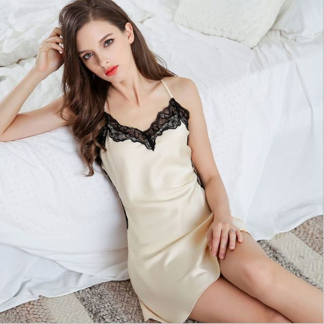 Female Sexy Satin Nightgown Silk Women Sleeveless Lace Strap Nightwear  Sleepwear Lounge Wear Night Dress Home Sleepshirt H9 7af7b6795