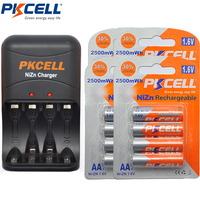 4Pack/16Pcs PKCELL Bateria AA Battery 1.6V 2500mWh Rechargeable Battery Batteries with 1Pcs 8186 Battery Charger