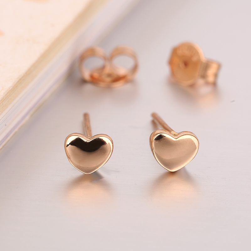Robira Cute Small Peach Heart Stud Earrings For Women Girls 18K Rose Gold Color Fine Jewelry Earrings Orecchini Aros Aretes 18k rose gold women stud earrings double balls fine engaged wedding jewelry fashion female delicate gift hot sale trendy party