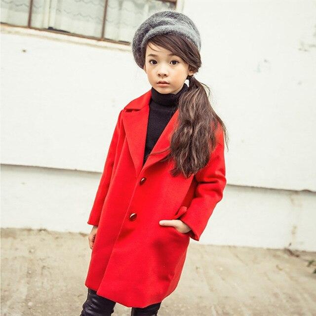 Новая Мода 2016 Дети Детская Одежда для Девочек Принцесса Пальто осень Зима Толстая Шерсть и Смеси Дети Девушки Пальто