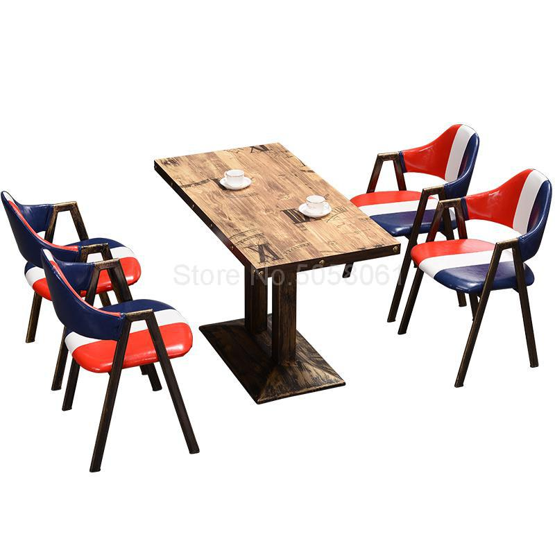 Snack Fast Food Restaurant Theme Western Restaurant Industrial Wind Hotel Table And Chair Retro BBQ Shop Table And Chair