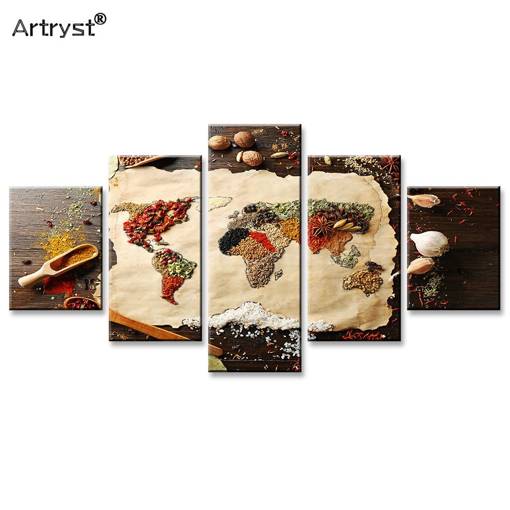 Artryst Abstract Food Assembled World Map Poster HD Print On Canvas 5 Piece Modular Wall Art Picture For Kitchen Cuadros Decor