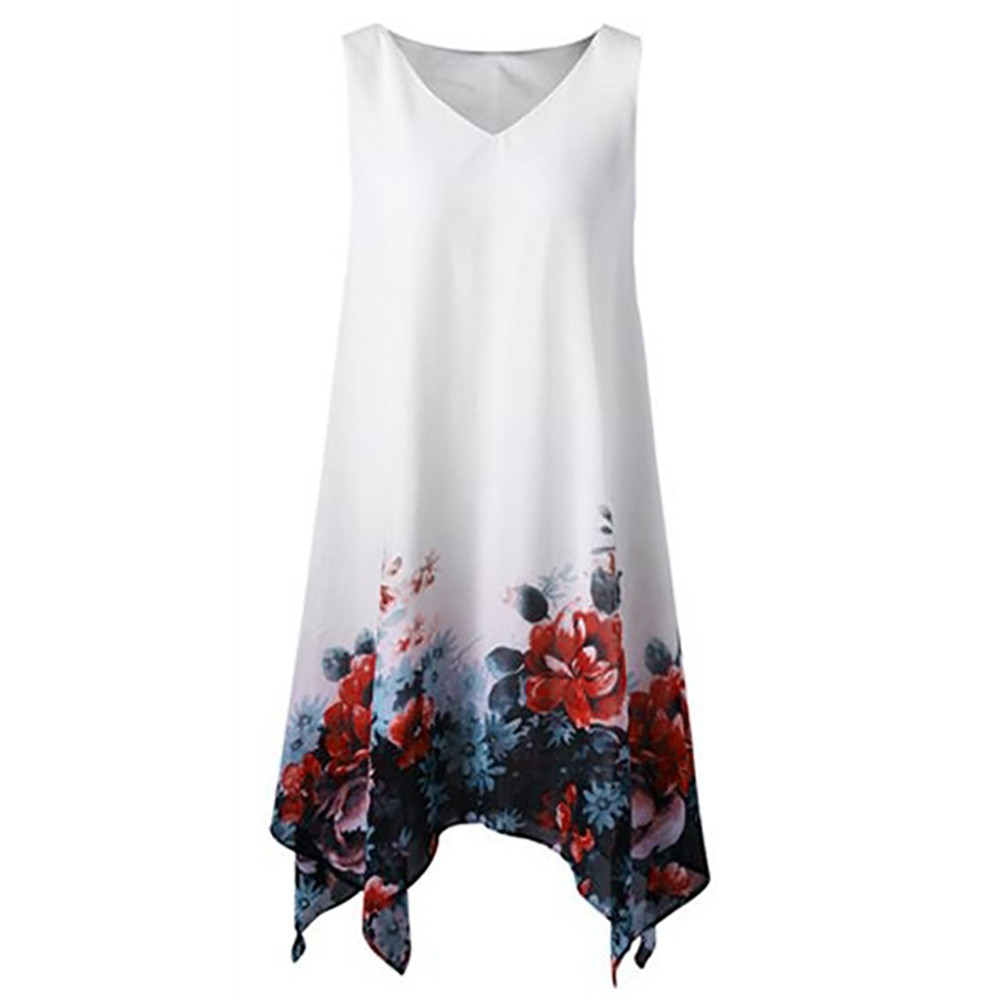 Women's Holiday Summer Dress Floral Print Chiffon Sleeveless Irregular Hem Mini Dress Beach Slim Dress Short Dresses Plus Size