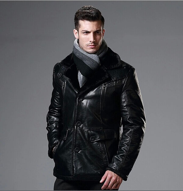 High Quality Synthetic Leather Men Jackets With Very Warm Faux Fur ...