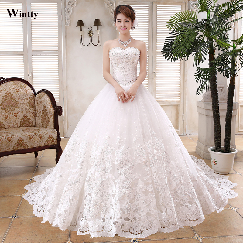 Wintty Crystal Wedding Dresses Long Train 60 Lace Wedding Gowns Delectable Wedding Gown Patterns