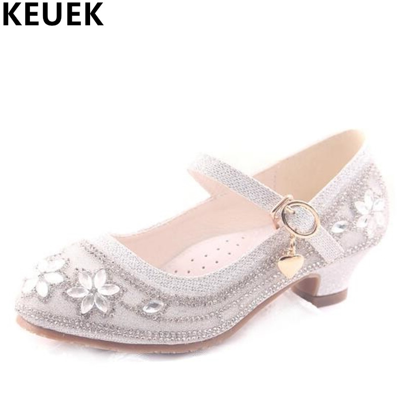 NEW Spring/Autumn Children Leather Shoes Girls Rhinestone High Heels Princess Wedding Dance Shoes Baby Kids Crystal Shoes 03  wendywu spring autumn children fashion pu leather heeled shoe for baby girsl rhinestone princess dance shoes gold toddler