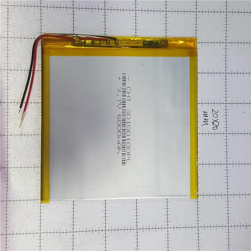 Batterie lithium polymère 3x100x100mm 3.7 v 6000 mah tablette batterie 2 fils