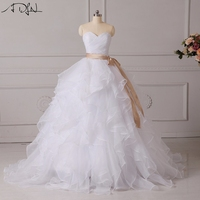 Adln corset wedding dresses ruffled organza custom made puffy bridal gown with bow sashes white ivory.jpg 200x200