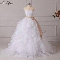 ADLN Corset Wedding Dresses Xù Organza Custom Made Puffy Bridal Gown với Bow Sash Trắng/Màu Ngà