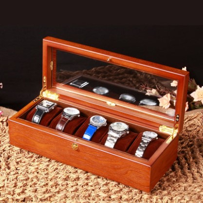 BEI Wholesale Wooden Watch Boxes Original Luxury Wood Watch Storage Case With Window Several Slots Watch Display Gift Mens Box solid wood watch case organizer with mens 5 slots acrylic clear window display